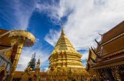 Golden temple Wat phra That in Doi Suthep, Chiang Mai, Thailand. Monks tourist skylight mai buddhism art tourism  religious northern Stock Photos