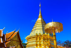Golden temple Wat phra That in Doi Suthep, Chiang Mai, Thailand Stock Images