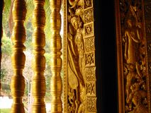 Free Golden Temple Window Art Laos Royalty Free Stock Image - 76796