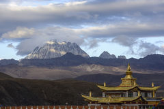 Golden temple with yala jokul. Muya golden tower(golden roof of temple).It,s the Monument to the 10th Panchen Lama. It lies Tagong grassland in Kangding Sichuan Royalty Free Stock Image