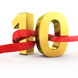 Golden Ten. Golden number ten with red fluttering fabric Royalty Free Stock Images