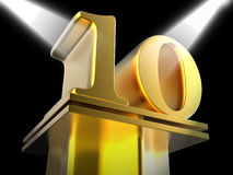 Golden Ten On Pedestal Means Cinema Awards Or Stock Photography