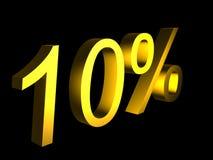 Golden ten percent on black background 3d render. Sales financial concept Stock Photo