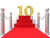 Golden Ten On Red Carpet Shows Film Industry. Golden Ten On Red Carpet Showing Film Industry Awards And Prizes Stock Photography