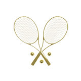 Golden tennis rackets. Two golden tennis rackets with balls isolated on white Stock Images