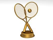 Golden tennis trophy. Close-up on a golden tennis trophy stock illustration