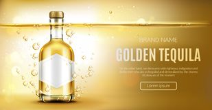 Golden tequila bottle mock up advertising banner. Tequila bottle mock up banner, glass flask with golden liquid and blank label mockup, mexican alcohol drink on royalty free stock images