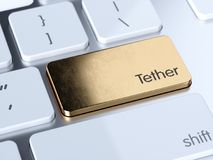 Tether computer keyboard button. Golden Tether computer keyboard button key. 3d rendering illustration Stock Images