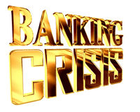 Golden Text banking crisis on a white background. 3d rendering. Golden Text banking crisis on a white background Stock Photo