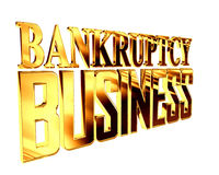 Golden Text bankruptcy business on a white background. 3d rendering. Golden Text bankruptcy business on a white background Stock Images