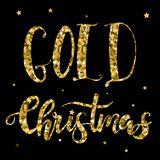 Golden text on black background. Merry Christmas and Happy New Year lettering for invitation and greeting card. Golden text on black background. Merry Christmas Stock Image