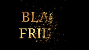 Golden text Black Friday appearing from a cloud of golden glitter particles royalty free illustration
