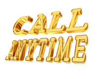 Golden Text call at any time on a white background Royalty Free Stock Images