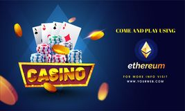 Golden text Casino with 3D chip, coins, ace cards on shiny blue. Background. Flyer, poster or banner design with multiple ethereum symbol, accepted option royalty free illustration