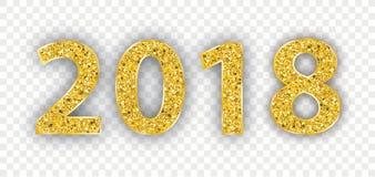 2018 Golden Glitter Transparent Royalty Free Stock Image