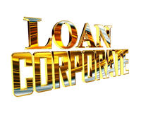 Golden Text corporate loan on a white background Stock Photo