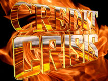 Golden Text credit crisis on the background of a flame of fire Stock Image