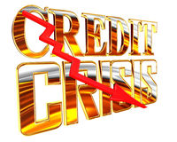 Golden Text the credit crisis on a white background Royalty Free Stock Photo