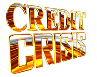 Golden Text the credit crisis on a white background Stock Images
