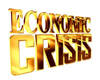 Golden Text the economic crisis on a white background. 3d rendering. Golden Text the economic crisis on a white background Royalty Free Stock Photography