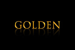 Golden text effect with reflection on black background Royalty Free Stock Images