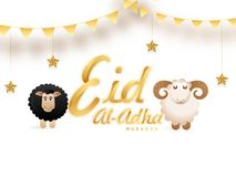 Golden text Eid-Al-Adha, Islamic festival of sacrifice concept w. Ith happy sheep, hanging stars on white background Royalty Free Stock Images