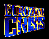 Golden Text of the eurozone crisis on a black background. 3d rendering. Golden Text of the eurozone crisis on a black background Royalty Free Stock Images