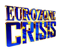 Golden Text of the eurozone crisis on a white background. 3d rendering. Golden Text of the eurozone crisis on a white background Royalty Free Stock Images