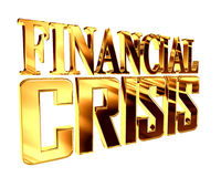 Golden Text the financial crisis on a white background. 3d rendering. Golden Text the financial crisis on a white background Royalty Free Stock Photos