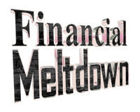 Golden Text the financial meltdown on a white background. 3d rendering. Golden Text the financial meltdown on a white background Stock Images