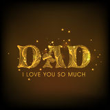 Golden text for Happy Fathers Day celebration. Royalty Free Stock Photography
