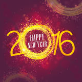 Golden text 2016 for Happy New Year celebration. Creative golden text 2016 on shiny background for Happy New Year celebration Stock Photos
