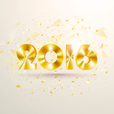 Golden text 2016 for Happy New Year celebration. Glossy golden text 2016 on abstract background for Happy New Year celebration Stock Photo