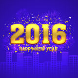 Golden text for Happy New Year celebration. Royalty Free Stock Photo