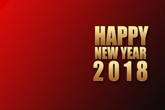 Golden text of Happy New Year 2018. Royalty Free Stock Image