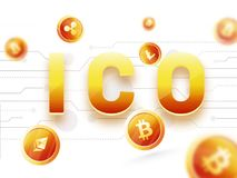 Golden text ICO Initial Coins Offering with multiple crypotcoi Stock Photography