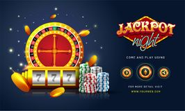 Golden text Jackpot Night with 3D chip, coins, and roulette on s. Parkling blue background. Flyer, poster or banner design with Cryptocurrencies accepted vector illustration