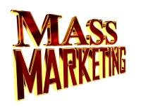 Golden Text mass marketing on a white background. 3d illustration. Golden Text mass marketing on a white background royalty free illustration
