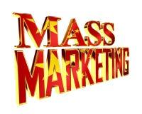 Golden Text mass marketing on a white background. 3d illustration. Golden Text mass marketing on a white background vector illustration