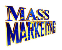 Golden Text mass marketing on a white background. 3d illustration. Golden Text mass marketing on a white background stock illustration