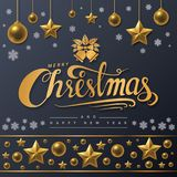 Golden text of Merry Christmas on black background. Royalty Free Stock Photography