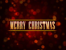 Golden text Merry Christmas over red background with lights dots. Abstract red background card with golden text Merry Christmas and lights dots vector illustration