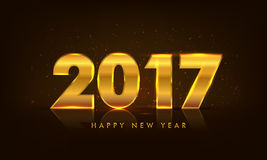 Golden Text 2017 for New Year celebration. Glowing Golden Text 2017 on glossy background for Happy New Year celebration Royalty Free Stock Image