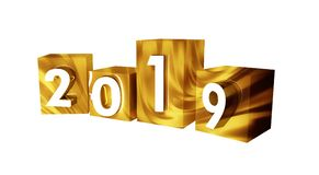 Golden text 2019 New Year with gold cub isolated on white. 3D illustration. Golden text 2019 New Year with gold cub isolated on white. 3D vector illustration