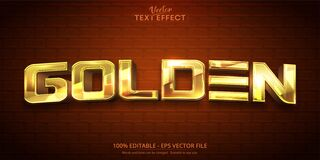 Free Golden Text, Shiny Gold Color Style Editable Text Effect Royalty Free Stock Photos - 215588608