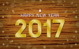 Golden text 2017. On Wood texture background. Happy new year, illustration Stock Photography