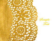 Golden textile border isolated. With copy space royalty free stock images