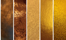 Golden Texture Banners. Shiny gold texture banners background collection with a shadow on the side Stock Photos