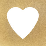 Golden texture and frame. With white heart Royalty Free Stock Photos