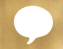 Golden texture and frame. With white speech bubble Stock Image